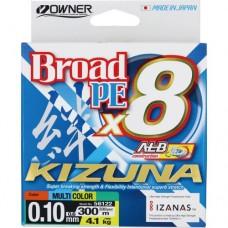 OWNER Шнур Kizuna X8 Broad PE multi color 10м 300м 0,1мм 4,1кг