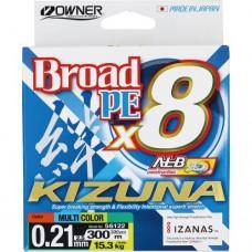 OWNER Шнур Kizuna X8 Broad PE multi color 10м 300м 0,21мм 15,3кг