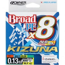 OWNER Шнур Kizuna X8 Broad PE multi color 10м 300м 0,13мм 6,7кг