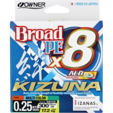 OWNER Шнур Kizuna X8 Broad PE multi color 10м 300м 0,25мм 17,2кг