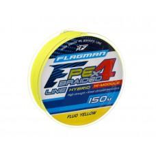 FLAGMAN Шнур PE Hybrid F4 150м Fluo Yellow 0,19мм 10кг 22lb