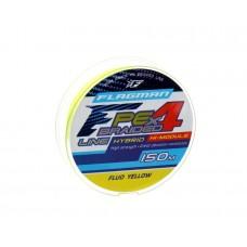 FLAGMAN Шнур PE Hybrid F4 150м Fluo Yellow 0,14мм 7,7кг 17lb