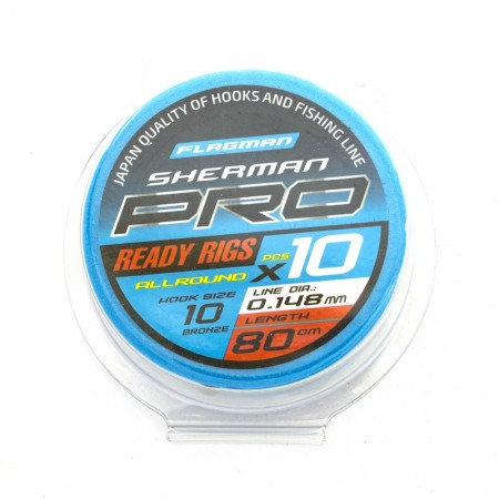 Готовые поводки Flagman SHERMAN PRO ALLROUND READY RIG 0,148mm, #10,80cm