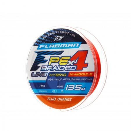 Шнур Flagman PE Hybrid F4 135m FluoOrange 0,14mm. 7,7кг/17lb
