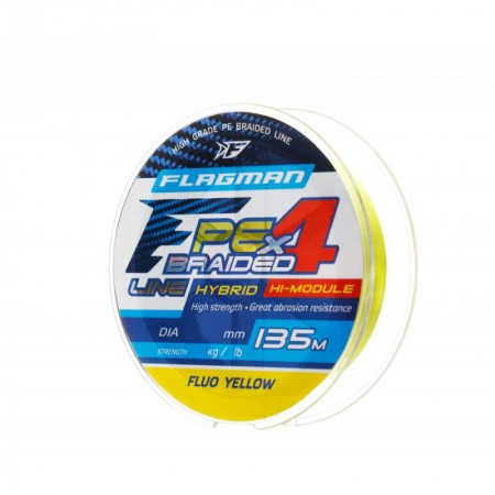 Шнур Flagman PE Hybrid F4 135m FluoYellow 0,12mm. 6,4кг/14lb