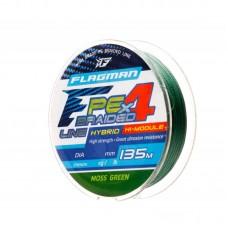 FLAGMAN Шнур PE Hybrid F4 135м MossGreen 0,16мм 9,1кг 20lb