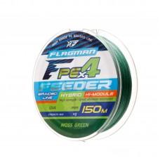 FLAGMAN Шнур PE Hybrid F4 Feeder 150м Moss Green 0,12мм 6,4кг